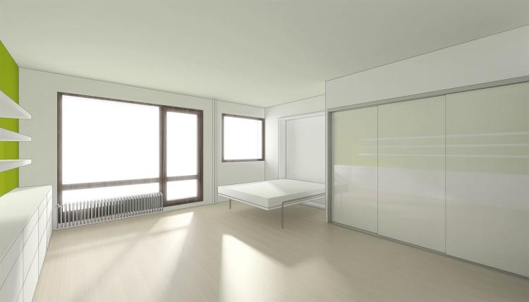 vue a / pièce principale avec le lit ouvert