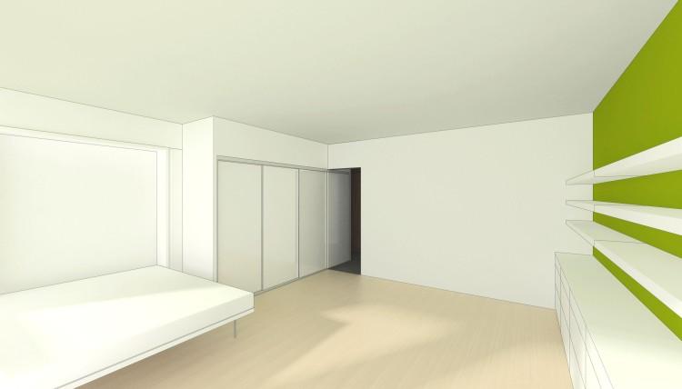 vue b / pièce principale avec le lit ouvert