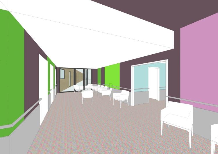 le salon côté plafond haut / secteur réadaptation / r+1
