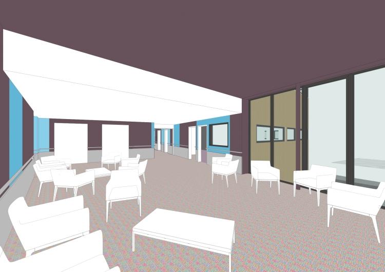 le salon côté plafond haut / secteur soins de suite