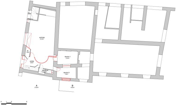 rdc / démolitions (en rouge)