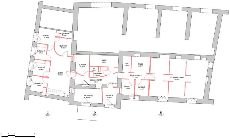 r+1 / démolitions (en rouge)